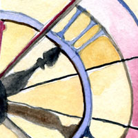 close up watercolor of clock hands