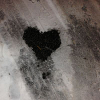 surprise finding on the sidewalk: a heart.